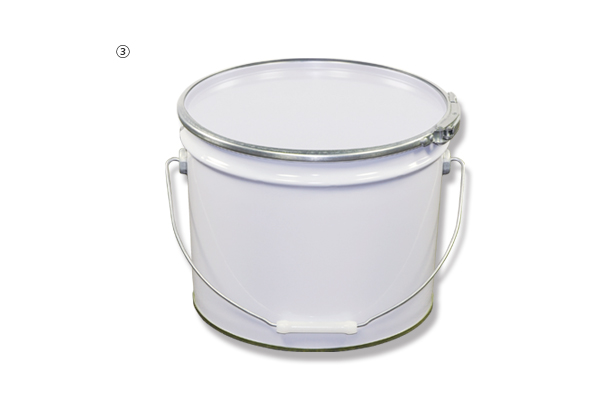 ③13L 白ブリキペール缶(フタ/バンド付)
