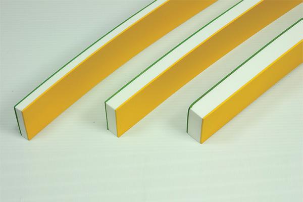 両面ゴム付ナラシバッカー(のり無)幅50mm 黄ゴム+白バッカー+緑ゴム(2+10+2)