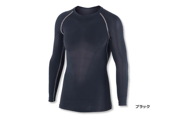冷感・消臭パワーストレッチ 長袖クルーネックシャツ JW-623(ブラック)