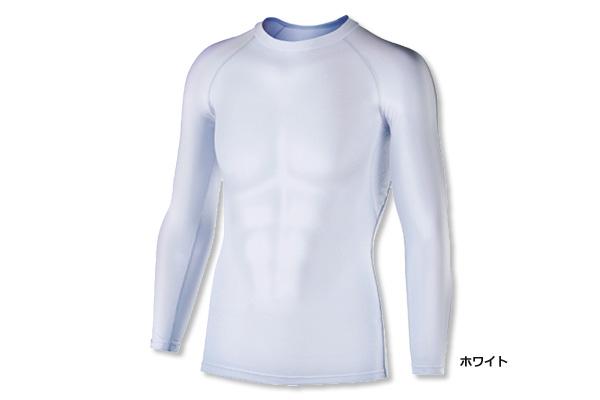 冷感・消臭パワーストレッチ 長袖クルーネックシャツ JW-623(ホワイト)