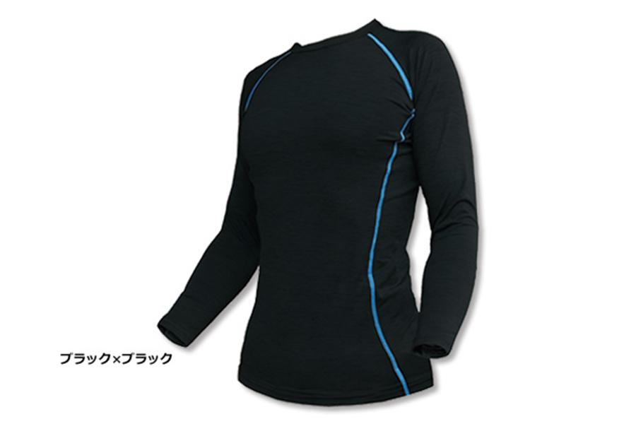 66-70 冷熱コンプレッション長袖Tシャツ(ブラック×ブラック)