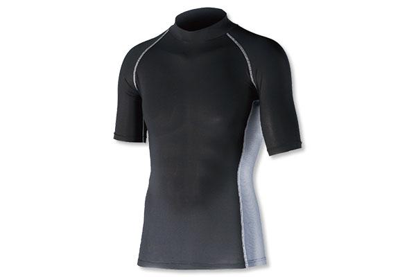 冷感・消臭パワーストレッチ 半袖バックハイネックシャツ(ブラック)