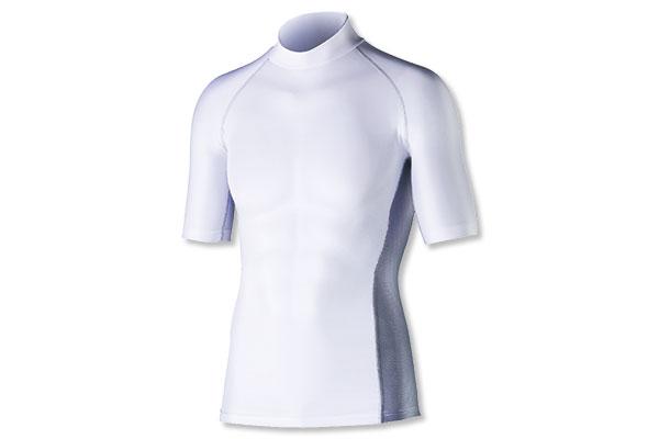 冷感・消臭パワーストレッチ 半袖バックハイネックシャツ(ホワイト)